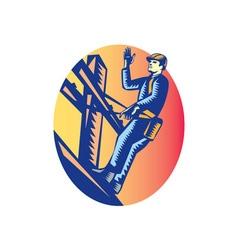 Power Lineman Electric Post Waving Oval Woodcut vector image
