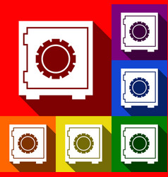 safe sign set of icons with vector image