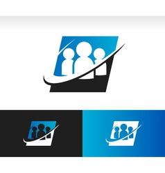 Swoosh Group People Logo Icon vector image vector image
