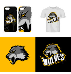 wolf head sport club isolated logo concept vector image vector image