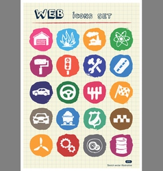 Auto and energy web icons set drawn by chalk vector image
