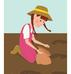 Children planted seeds vector image vector image