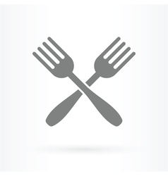 crossed forks icon vector image vector image