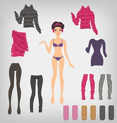 dress up paper doll with an assortment of winter vector image vector image