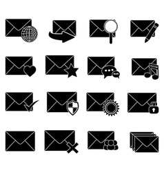 message email icons set vector image vector image