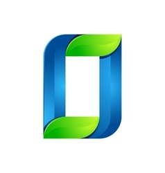 O letter leaves eco logo volume icon vector image vector image