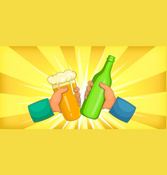 oktoberfest drink horizontal banner cartoon style vector image