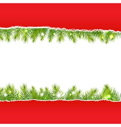 Rip Paper With New Years Fir Tree vector image