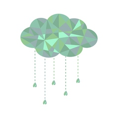 Blue and green cloud with hanging drops Polygonal vector image