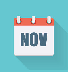 November Dates Flat Icon with Long Shadow vector image