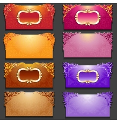 Set of royal invitation cards with frame vector image