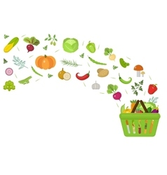 Shopping basket with fresh vegetables Flat design vector image