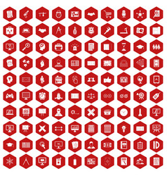 100 plan icons hexagon red vector image