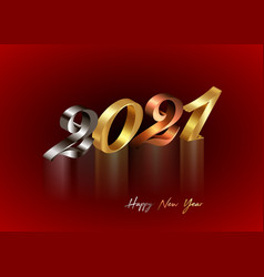 2021 golden bronze and silver 3d numbers new year vector image