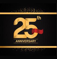 25 years anniversary logotype with premium gold vector