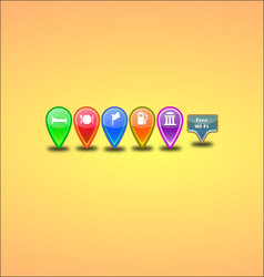 6 colorful map-pins vector
