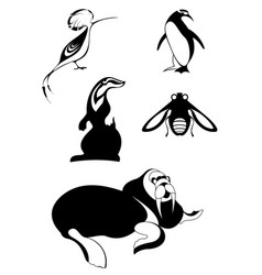 animal icons isolated vector image