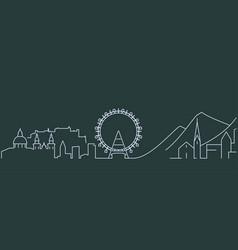 austria simple line skyline and landmark vector image