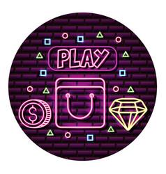 bag coin and diamond neon video game wall vector image