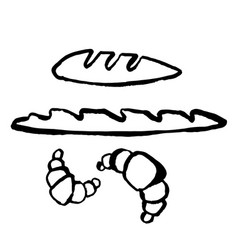 baguette and croissant icon hand drawn grunge vector image