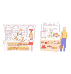 bakery and pastry shop vendor and customer bread vector image