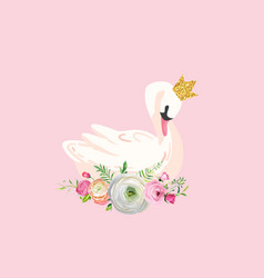 beautiful swans with water lilies vector image