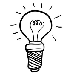 black and white freehand drawn cartoon lightbulb vector image