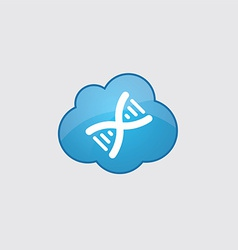 Blue cloud DNA icon vector