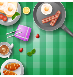 breakfast with eggs bacon bread and cup of coffe vector image