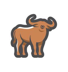 buffalo bull silhouette icon cartoon vector image