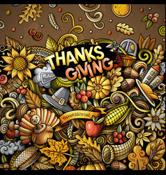 Cartoon doodles happy thanksgiving day frame vector