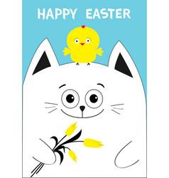 cat holding yellow tulip flower and chicken bird vector image vector image