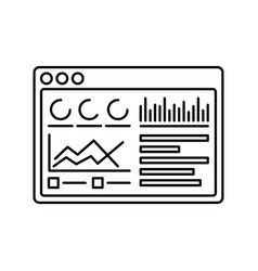 Chart in window icon in outline style for vector