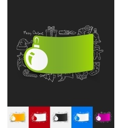 Christmas ball paper sticker with hand drawn vector