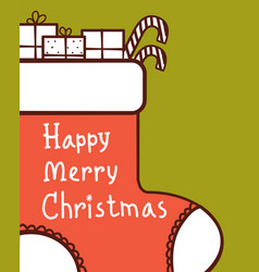 christmas card with red sock and holiday gifts vector image