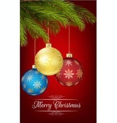 christmas decoration with christmas tree and ball vector image