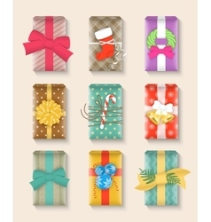 Christmas gift boxes bright colorful set vector image