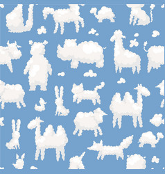Clouds animal shapes seamless pattern with sheep vector