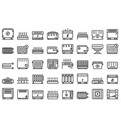 Con icons set outline radiator bars vector