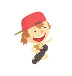 Cool smiling cartoon skateboarder boy kids vector