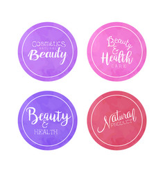 Cosmetics natural beauty labels collection health vector