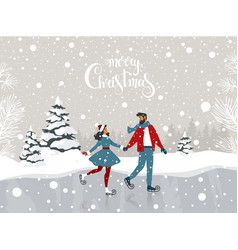 Couple winter rink vector