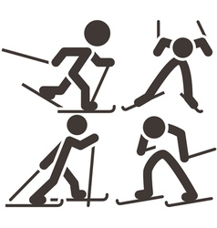 Cross country skiing icons vector