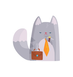 cute businessman cat with orange tie and briefcase vector image