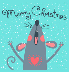 cute gray rat wishes merry christmas postcard vector image