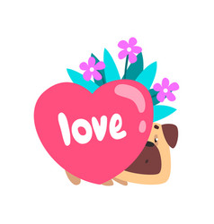 Dog with bouquet of flowers and pink heart cute vector