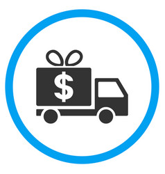 Dollar gift delivery rounded icon vector