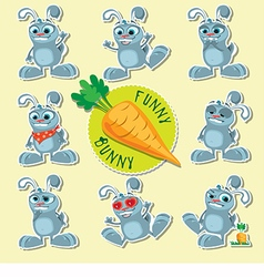 Emotional bunnies beautiful set vector image