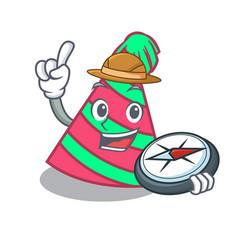 Explorer party hat mascot cartoon vector