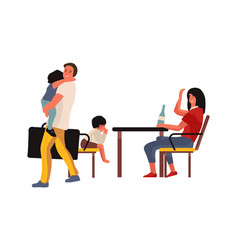 family conflict mother and father brawling man vector image